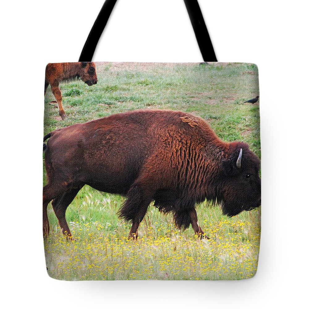 Buffalo Mom Tote Bag featuring the photograph Buffalo Mom by Tom Janca