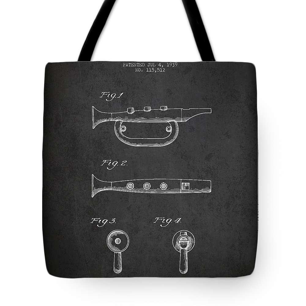 Bugle Tote Bag featuring the digital art Bugle Call Instrument Patent Drawing From 1939 - Dark by Aged Pixel