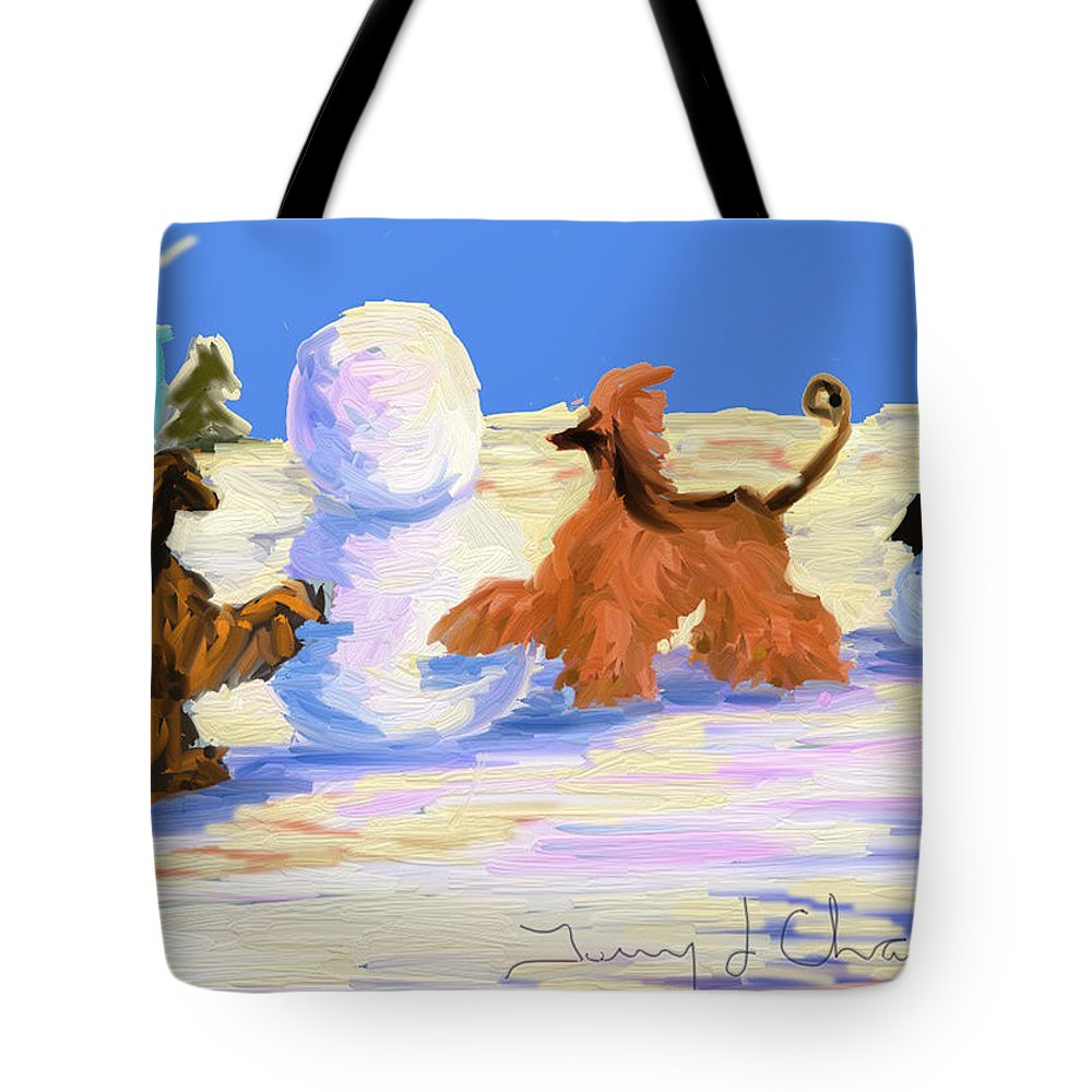 Snowman Tote Bag featuring the painting Building A Snowman by Terry Chacon