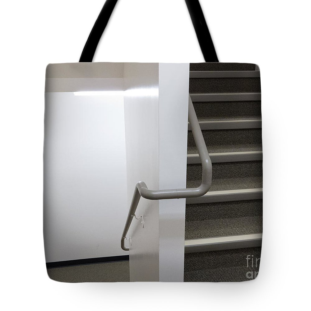 Architecture Tote Bag featuring the photograph Building Interior White Staircase With Handrails by Stephan Pietzko