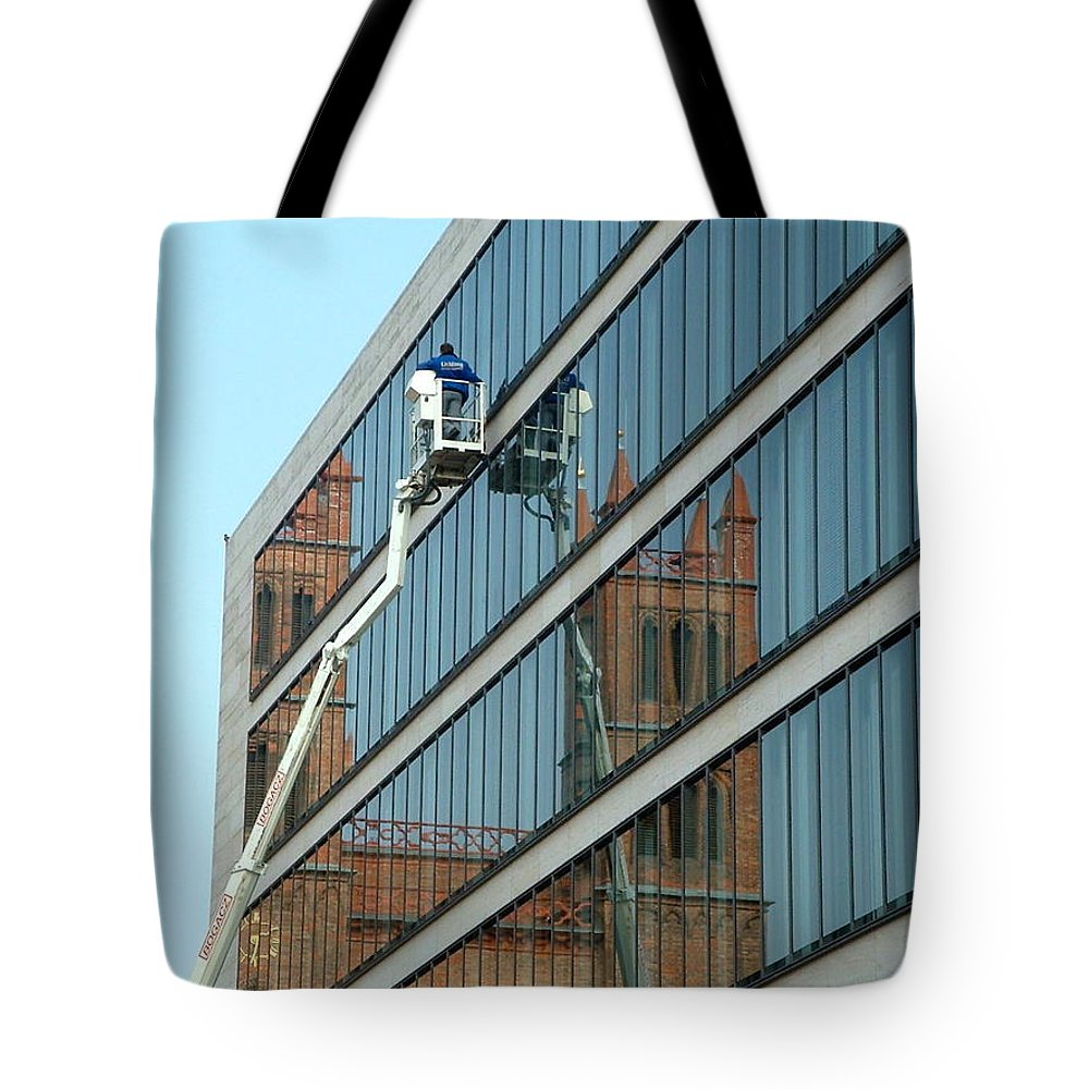 Berlin Tote Bag featuring the photograph Building New by Marc Philippe Joly