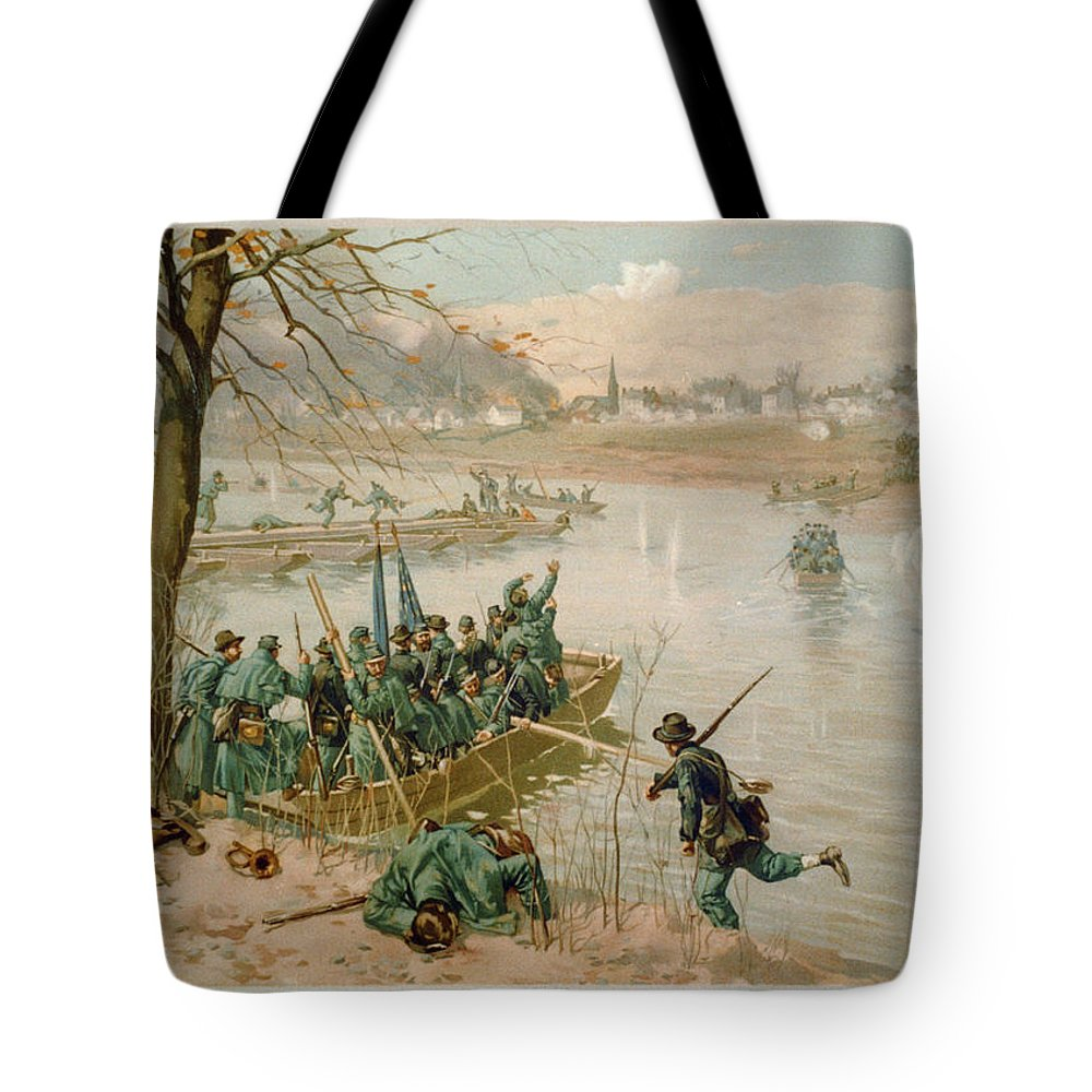 Building Pontoons Tote Bag featuring the painting Building Pontoons by MotionAge Designs
