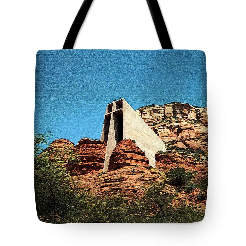 Chapel Of The Holy Cross Tote Bag featuring the photograph Built Upon Rock by Connie Fox