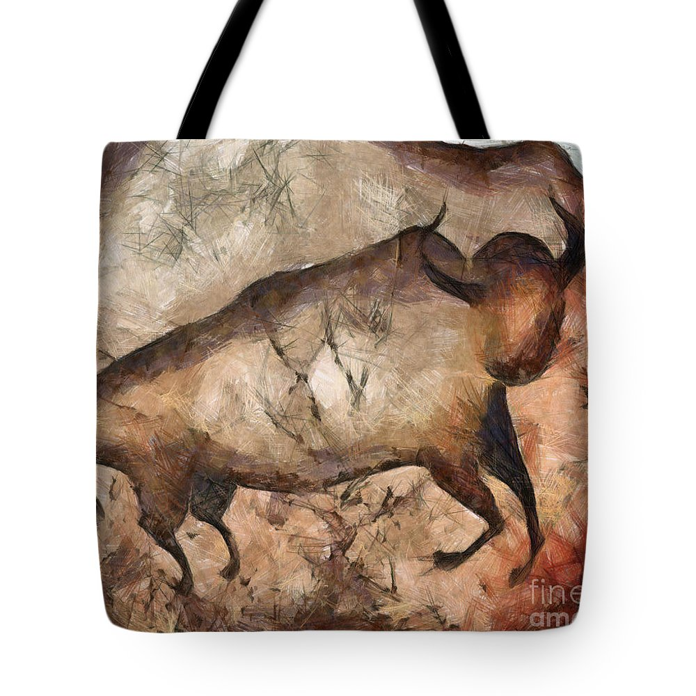 Abstract Tote Bag featuring the painting bull a la Altamira by Michal Boubin
