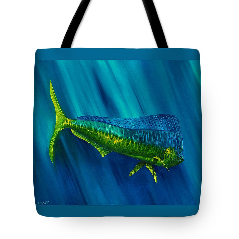 Dolphin Tote Bag featuring the painting Bull Dolphin by Steve Ozment