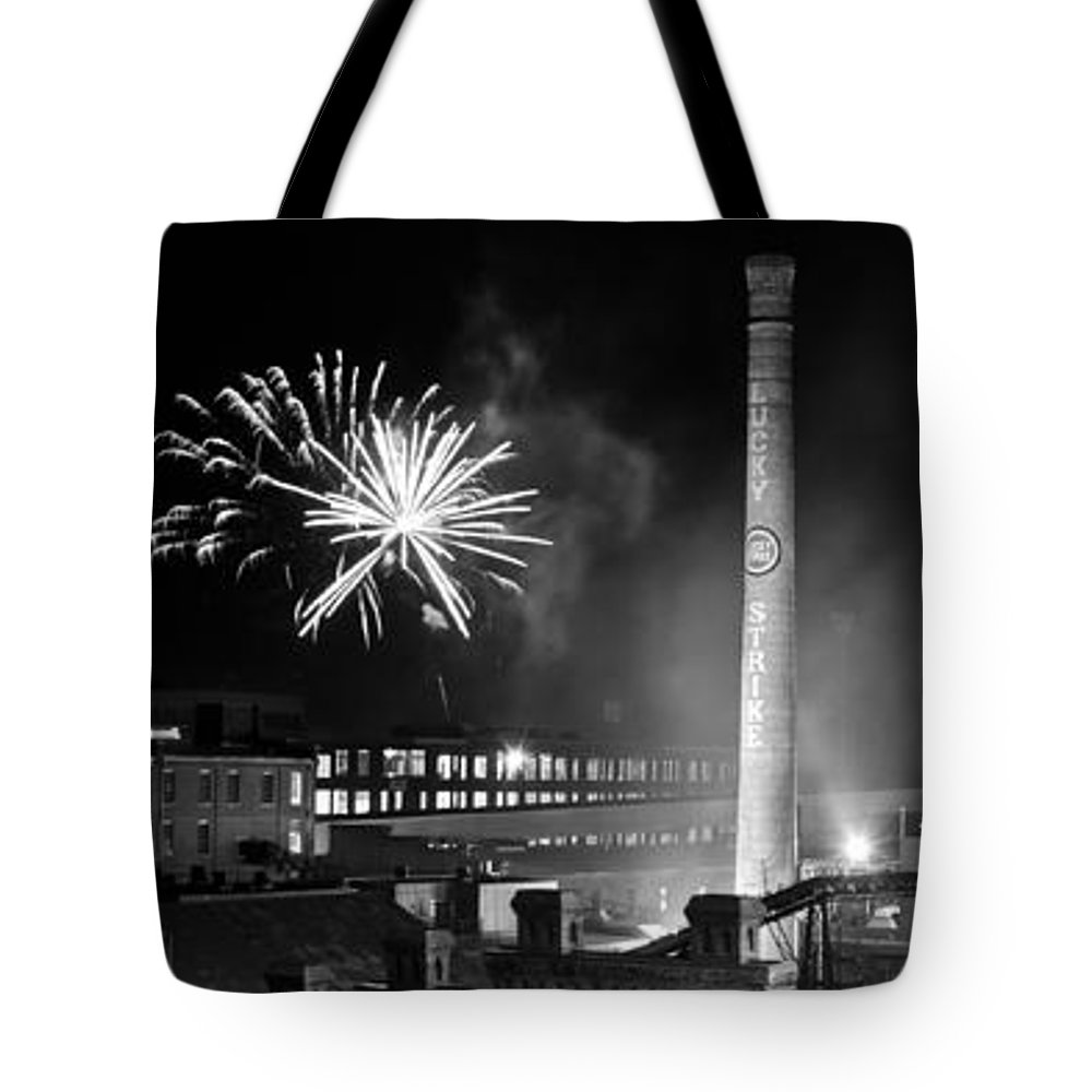 Bulls Tote Bag featuring the photograph Bull Durham Fireworks by Jh Photos