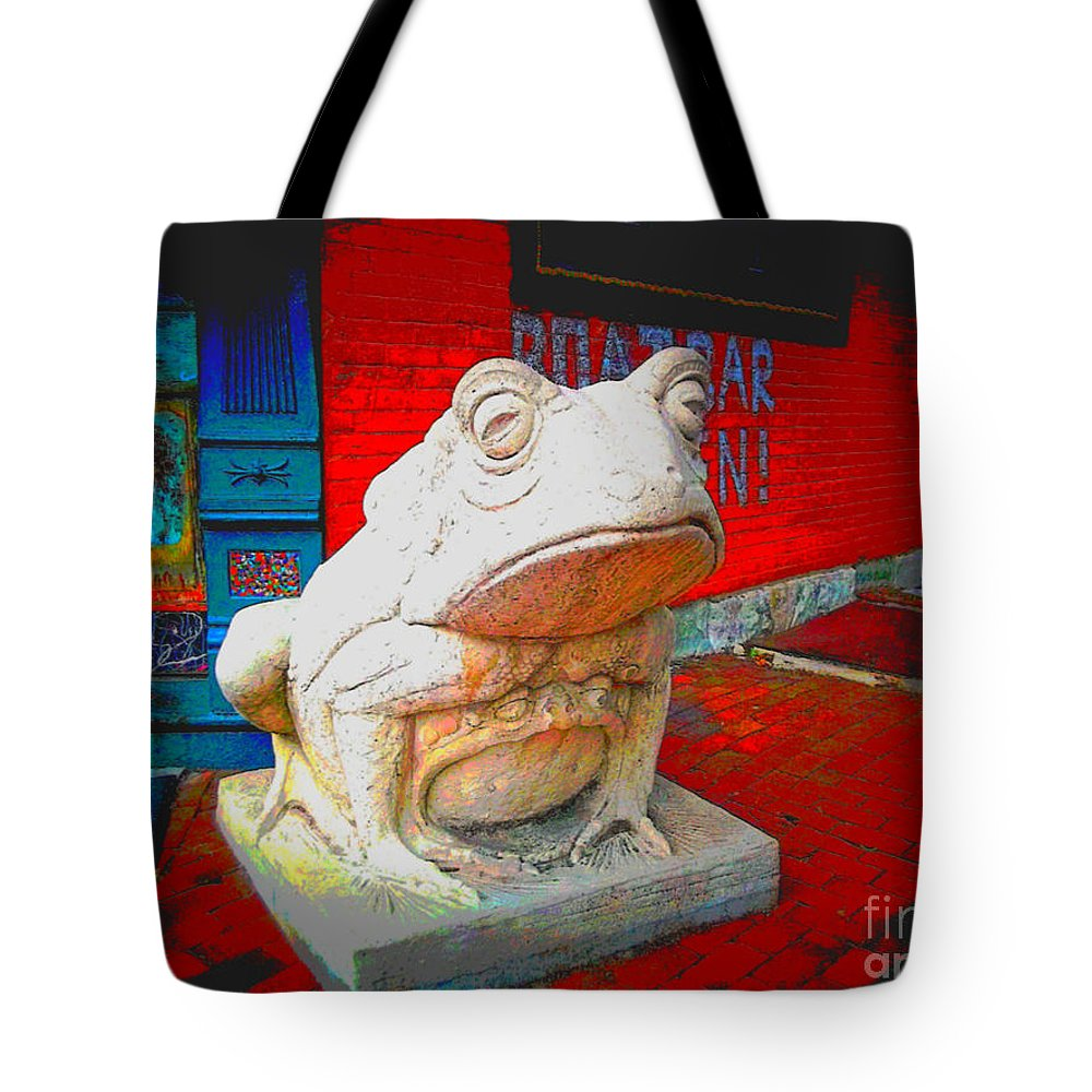 Tote Bag featuring the photograph Bull Frog Painted by Kelly Awad