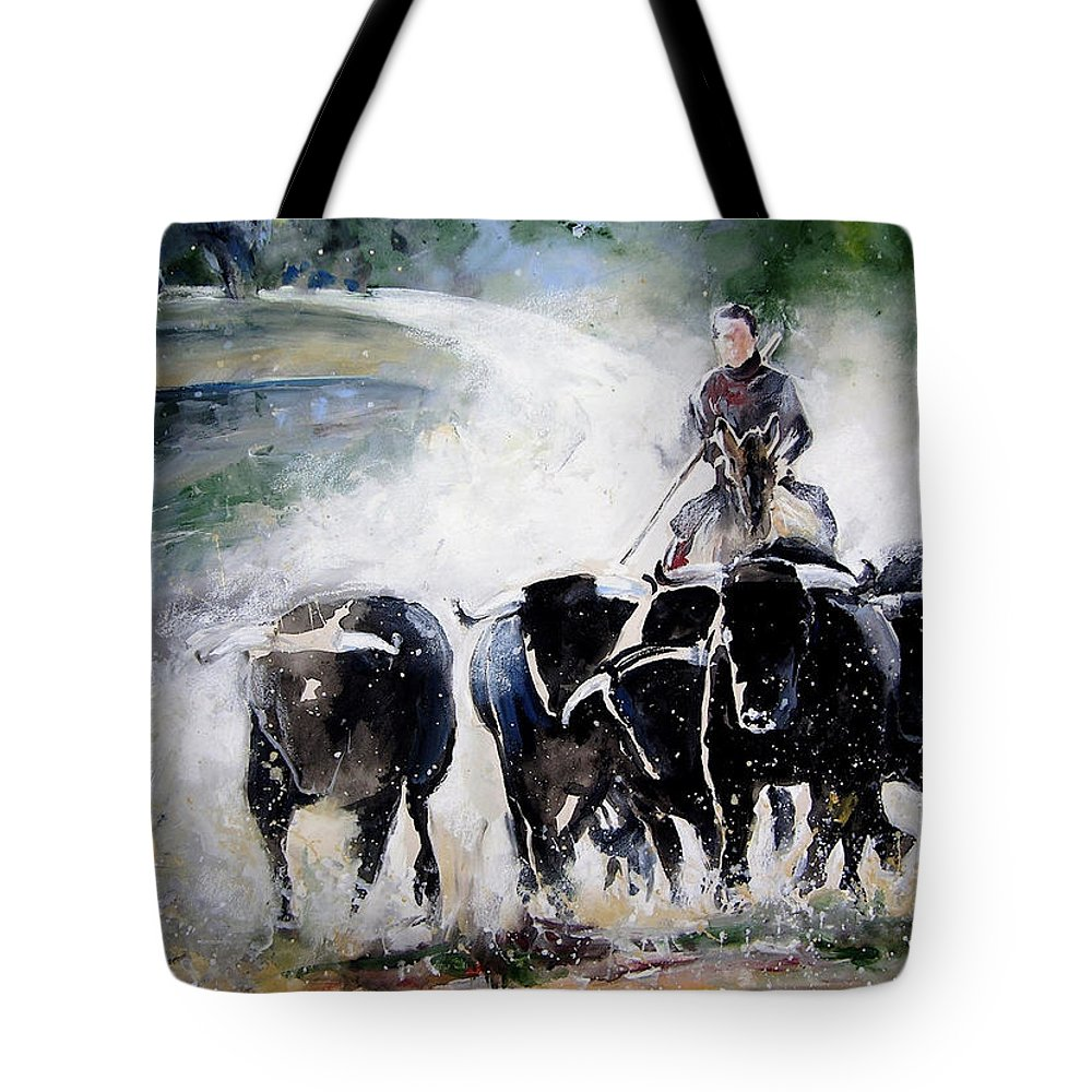 Animals Tote Bag featuring the painting Bull Herd by Miki De Goodaboom
