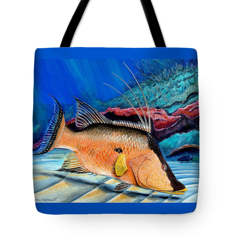 Reef Tote Bag featuring the painting Bull Hogfish by Steve Ozment