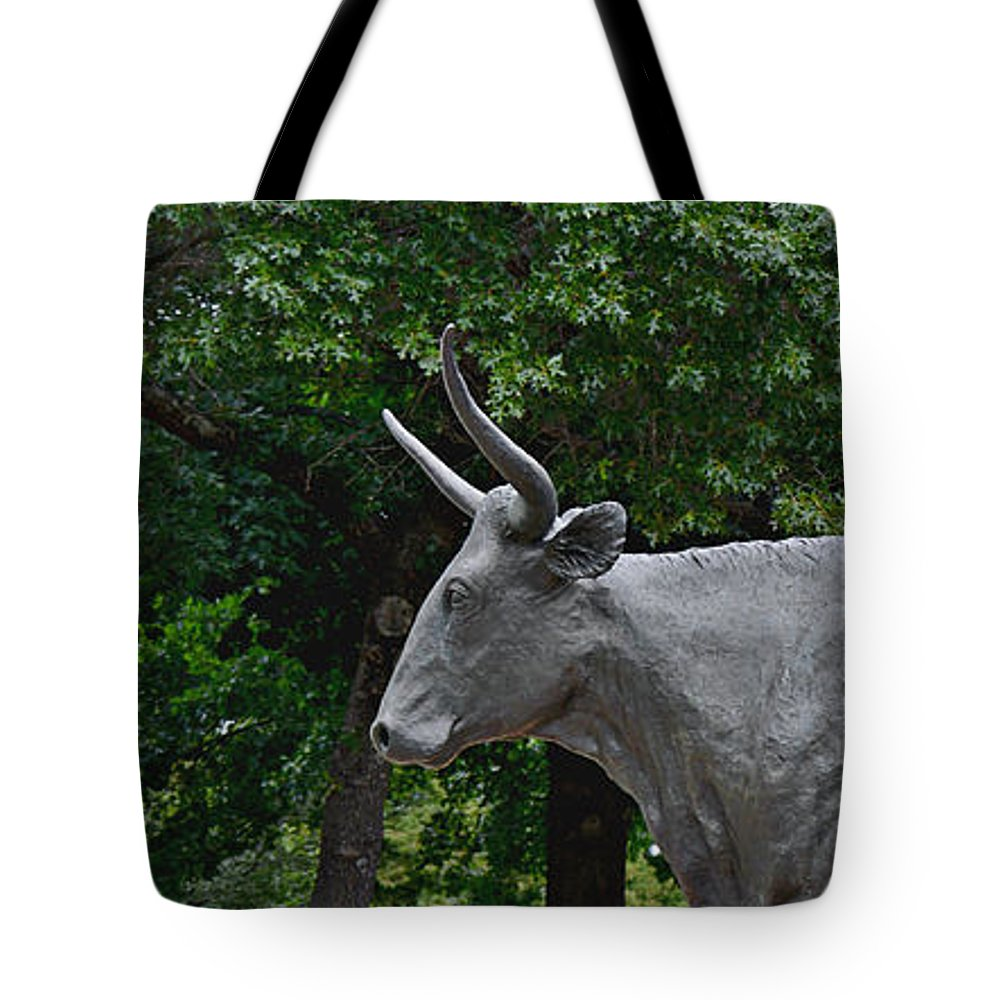 Waco Tote Bag featuring the photograph Bull Market Quadriptych 1 Of 4 by Christine Till