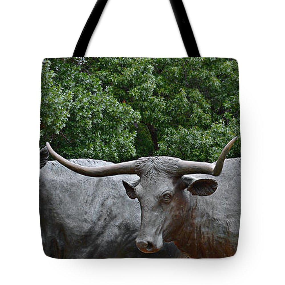 Waco Tote Bag featuring the photograph Bull Market Quadriptych 3 Of 4 by Christine Till