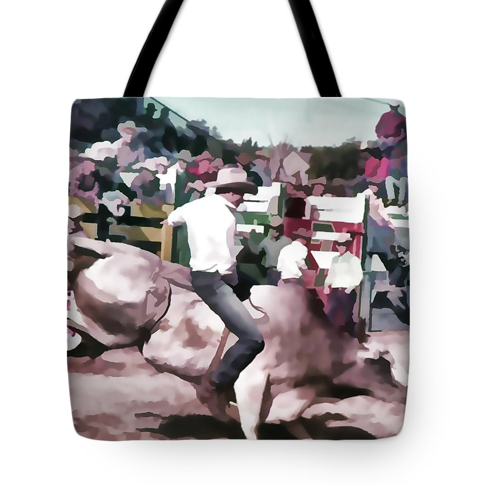 Bull Rider Tote Bag featuring the photograph Bull Rider Digital Art By Cathy Anderson by Cathy Anderson