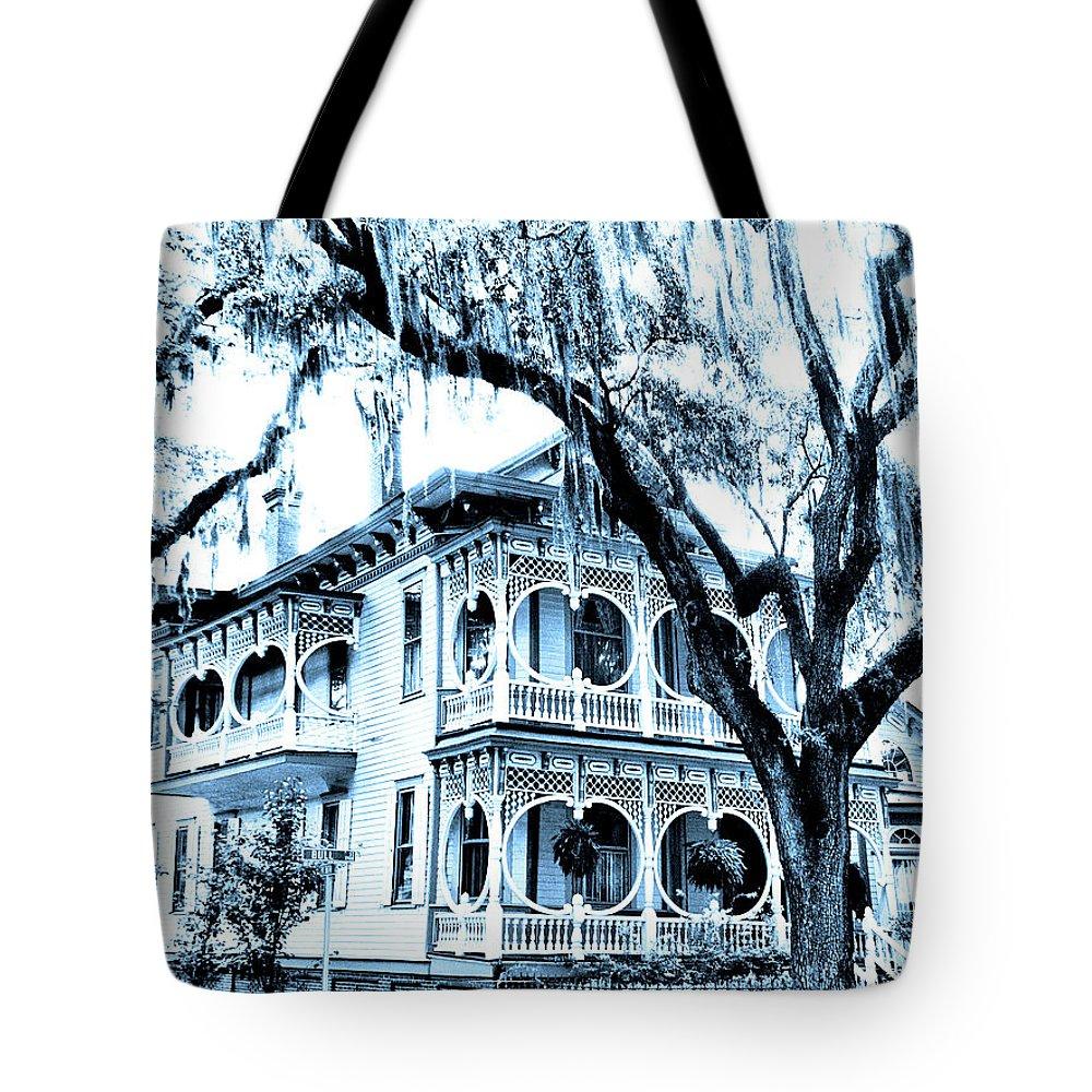 Savannah Tote Bag featuring the photograph Bull Street House Savannah Ga by William Dey