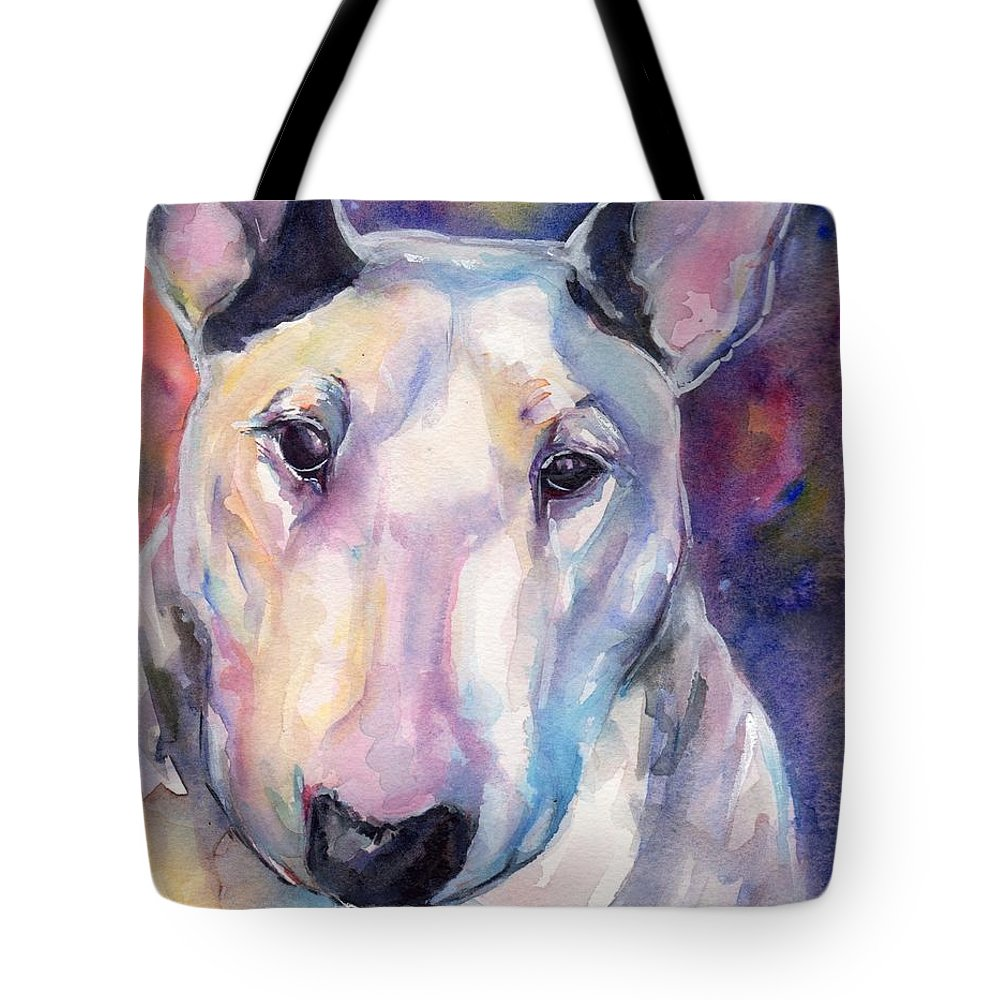 Bull Terrier Painting Tote Bag featuring the painting Bull Terrier by Maria's Watercolor