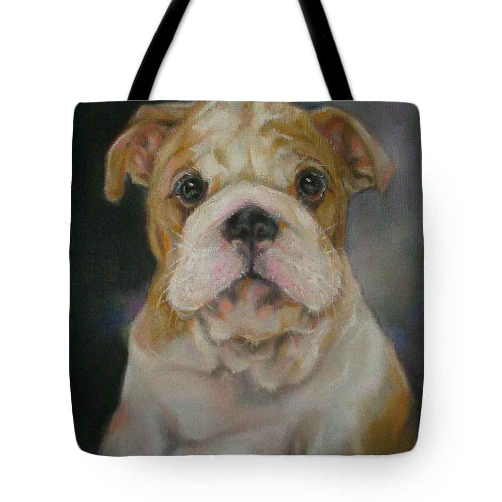 Original Painting & Creation Impressionism Tote Bag featuring the painting Bulldog Puppy by Jack No War