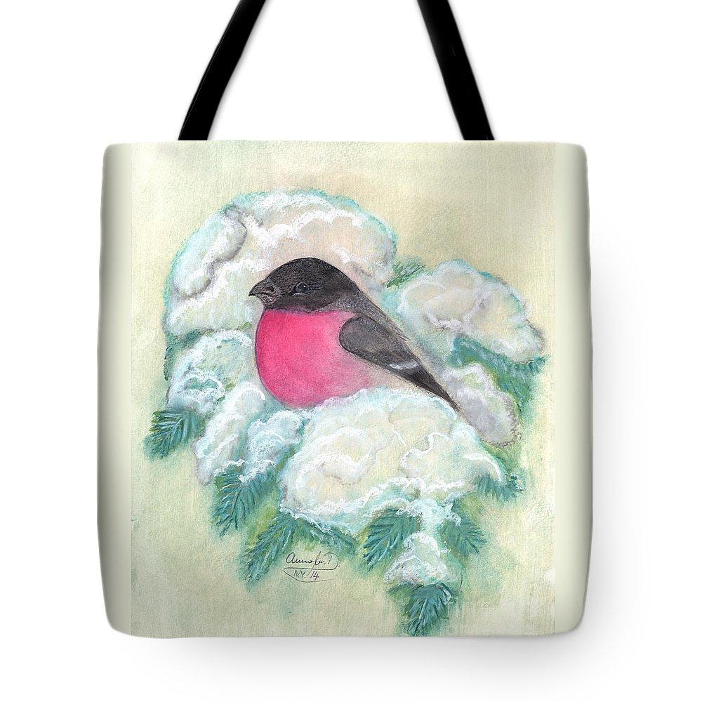 Birds Tote Bag featuring the painting Bullfinch by Anna Folkartanna Maciejewska-Dyba