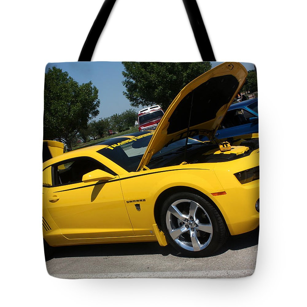 2011 Chevrolet Camaro Tote Bag featuring the photograph Bumble Bee Side View 7904 by Gary Gingrich Galleries