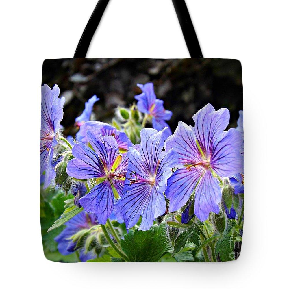 Geranium Tote Bag featuring the photograph Bunches by Clare Bevan