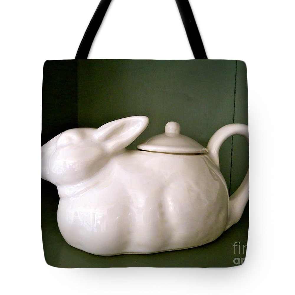 Teapot Tote Bag featuring the photograph Bunny Teapot by Nancy Patterson