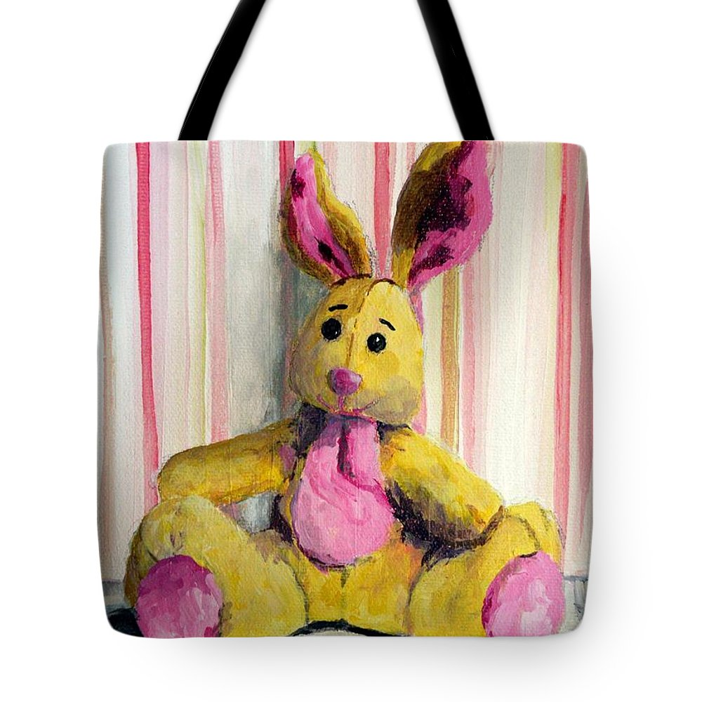 Stuffed Bunnies Tote Bag featuring the painting Bunny With Pink Ears by Saundra Lane Galloway