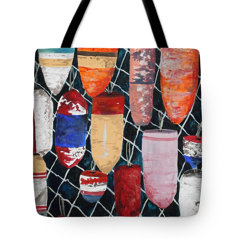 Buoy Tote Bag featuring the painting Buoy Nautical Vintage Art by Derek Mccrea