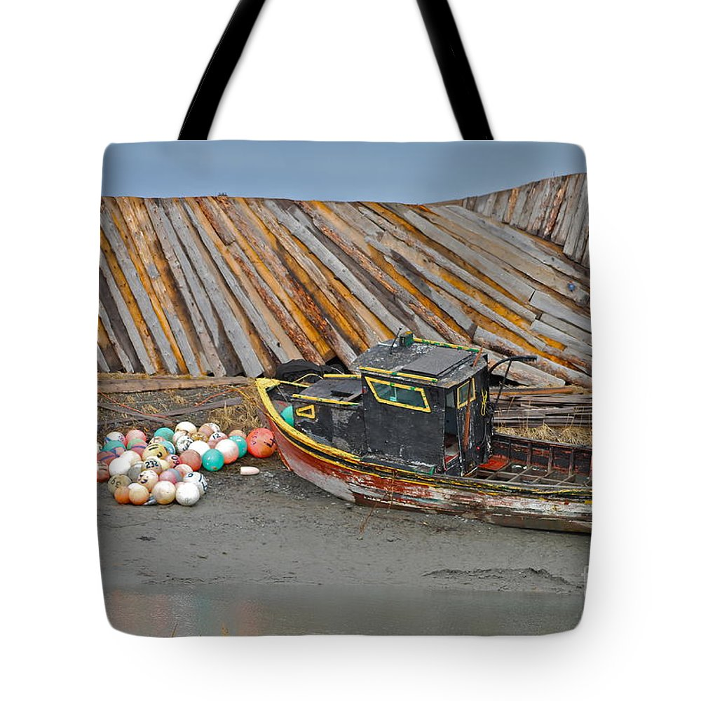 Boat Tote Bag featuring the photograph Buoy Spill by Rick Monyahan