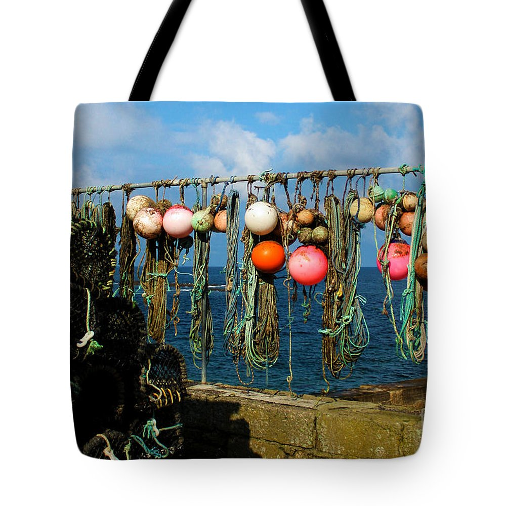 Sennen Cove Tote Bag featuring the photograph Buoys And Pots In Sennen Cove by Terri Waters