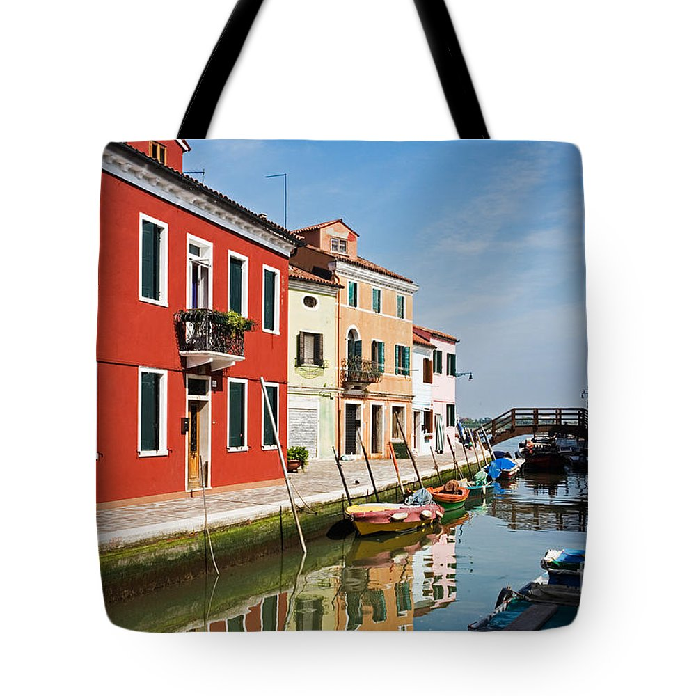 Canal Tote Bag featuring the photograph Burano, Venice by David Davis