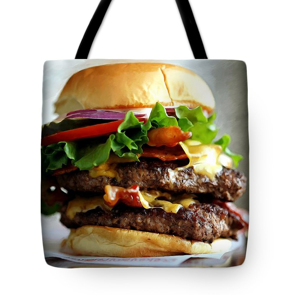 Bacon Tote Bag featuring the digital art Burger - Fast food Serie by Gabriel T Toro