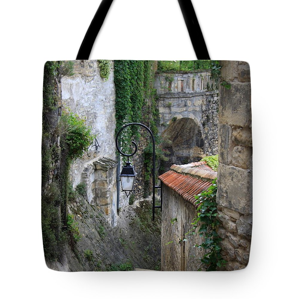 Alley Tote Bag featuring the photograph Burgundy Alley by Christiane Schulze Art And Photography