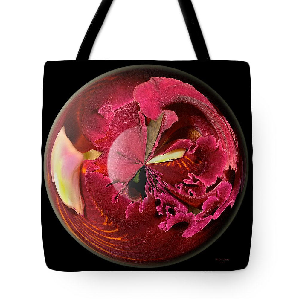Orchid Tote Bag featuring the photograph Burgundy Orchids In A Glass Globe by Phyllis Denton