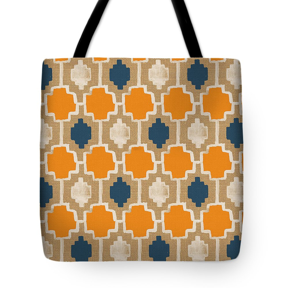 Abstract Pattern Tote Bag featuring the painting Burlap Blue and Orange design by Linda Woods