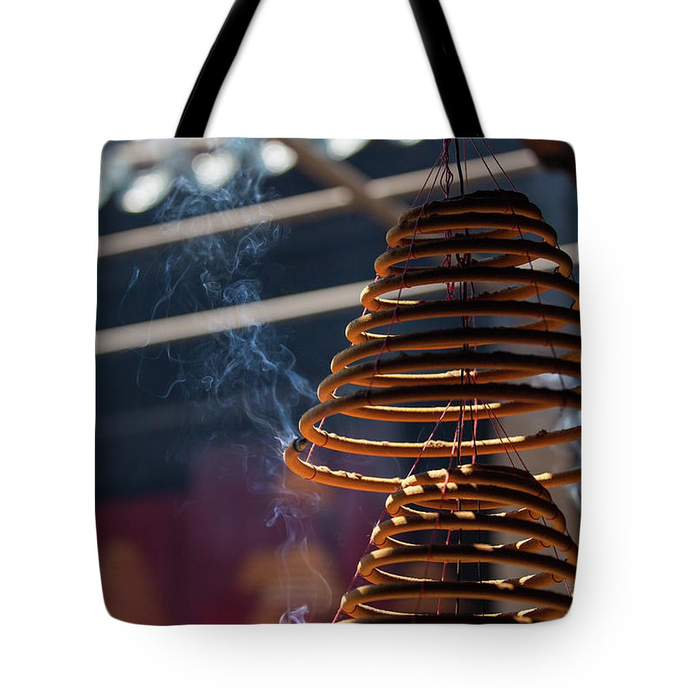 Chinese Culture Tote Bag featuring the photograph Burn Incense And Pray by Greenlin