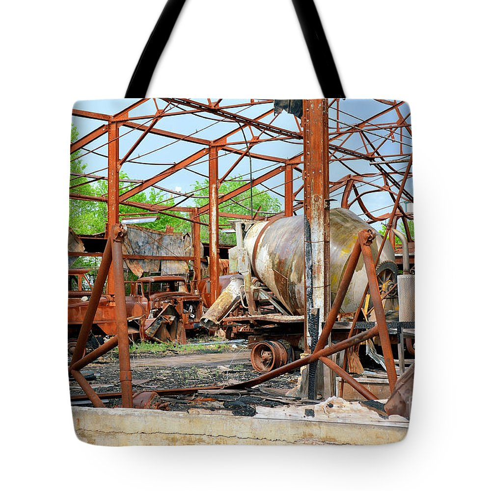 Cement Tote Bag featuring the photograph Burned But Not Forgotten by Derry Murphy