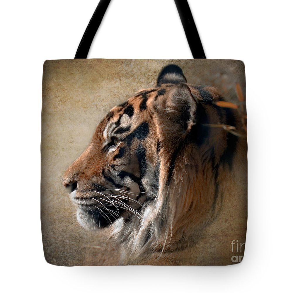 Tiger Tote Bag featuring the photograph Burning Bright by Betty LaRue