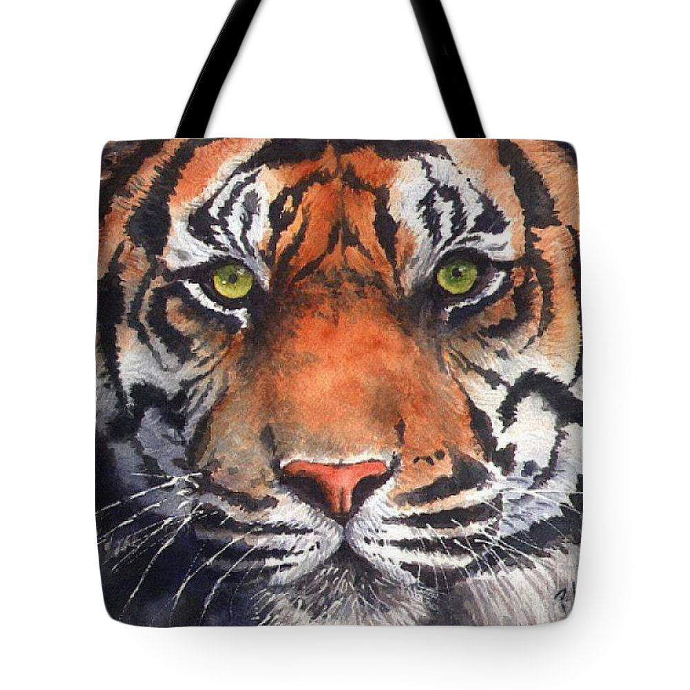 Tiger Tote Bag featuring the painting Burning Bright by Patricia Henderson