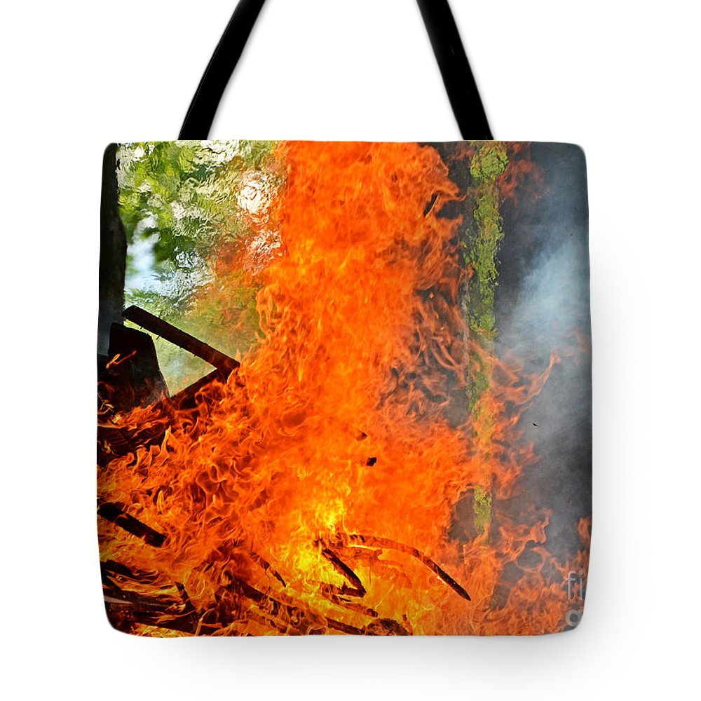 Nature Tote Bag featuring the photograph Burning Brush by Debbie Portwood