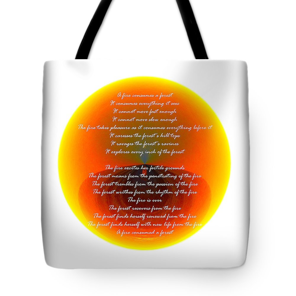 Poem Tote Bag featuring the photograph Burning Orb With Poem by Brent Dolliver