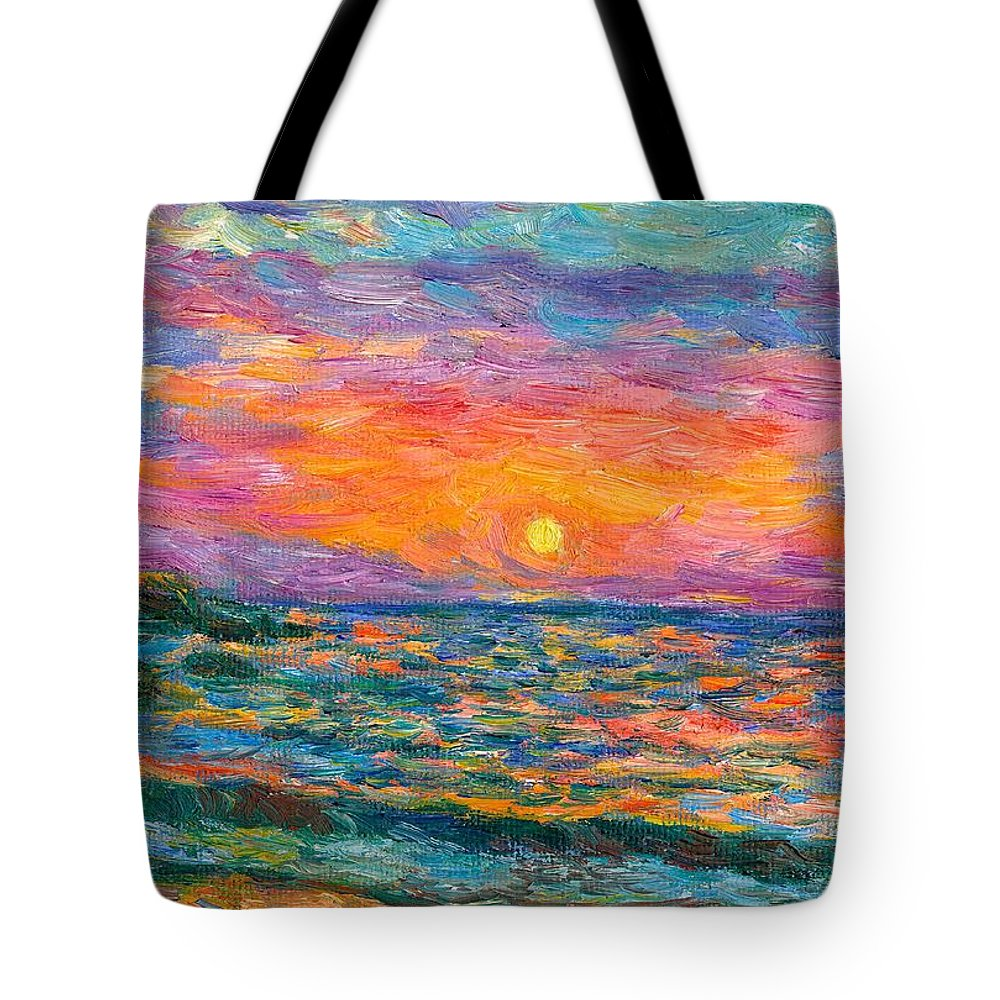 Ocean Tote Bag featuring the painting Burning Shore by Kendall Kessler