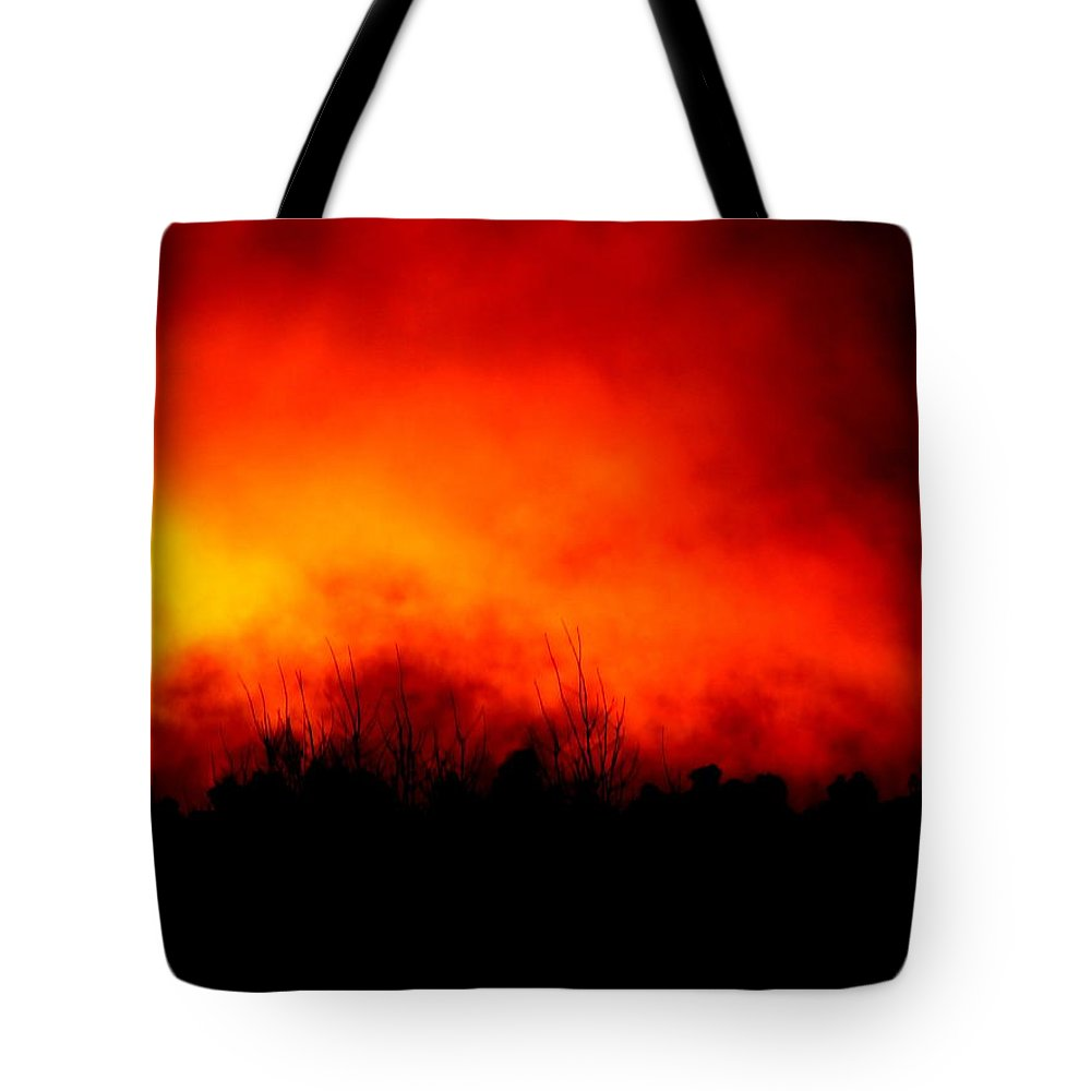 Fire Sunset Cloud Bushfire Brushfire Flame Landscape Forest Tote Bag featuring the photograph Burning Sky by Guy Pettingell