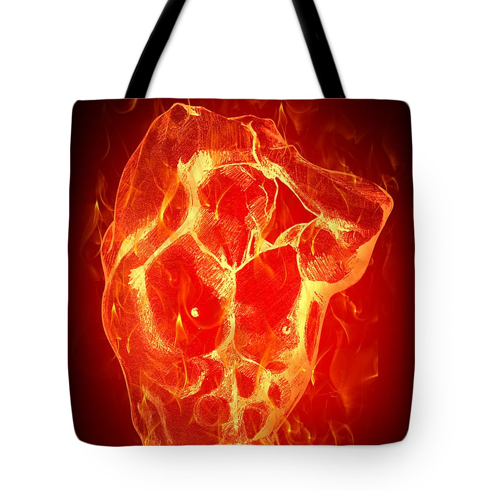 Fire Tote Bag featuring the digital art Burning Up by Mark Ashkenazi
