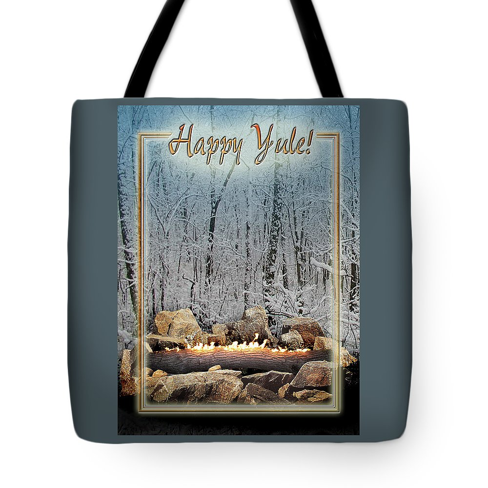 Yule Tote Bag featuring the digital art Burning Yule Log by Melissa A Benson