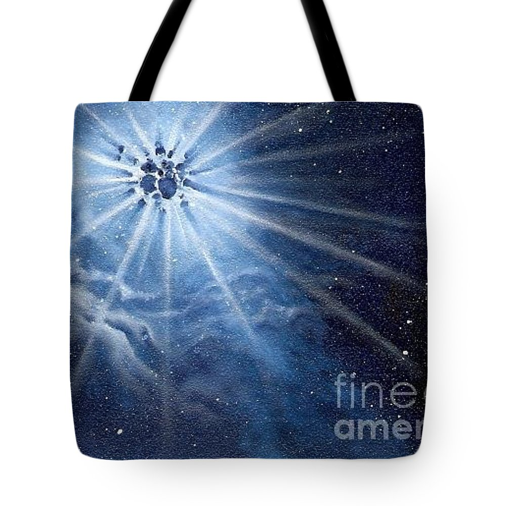 Outerspace Tote Bag featuring the painting Burst Of Light by Murphy Elliott