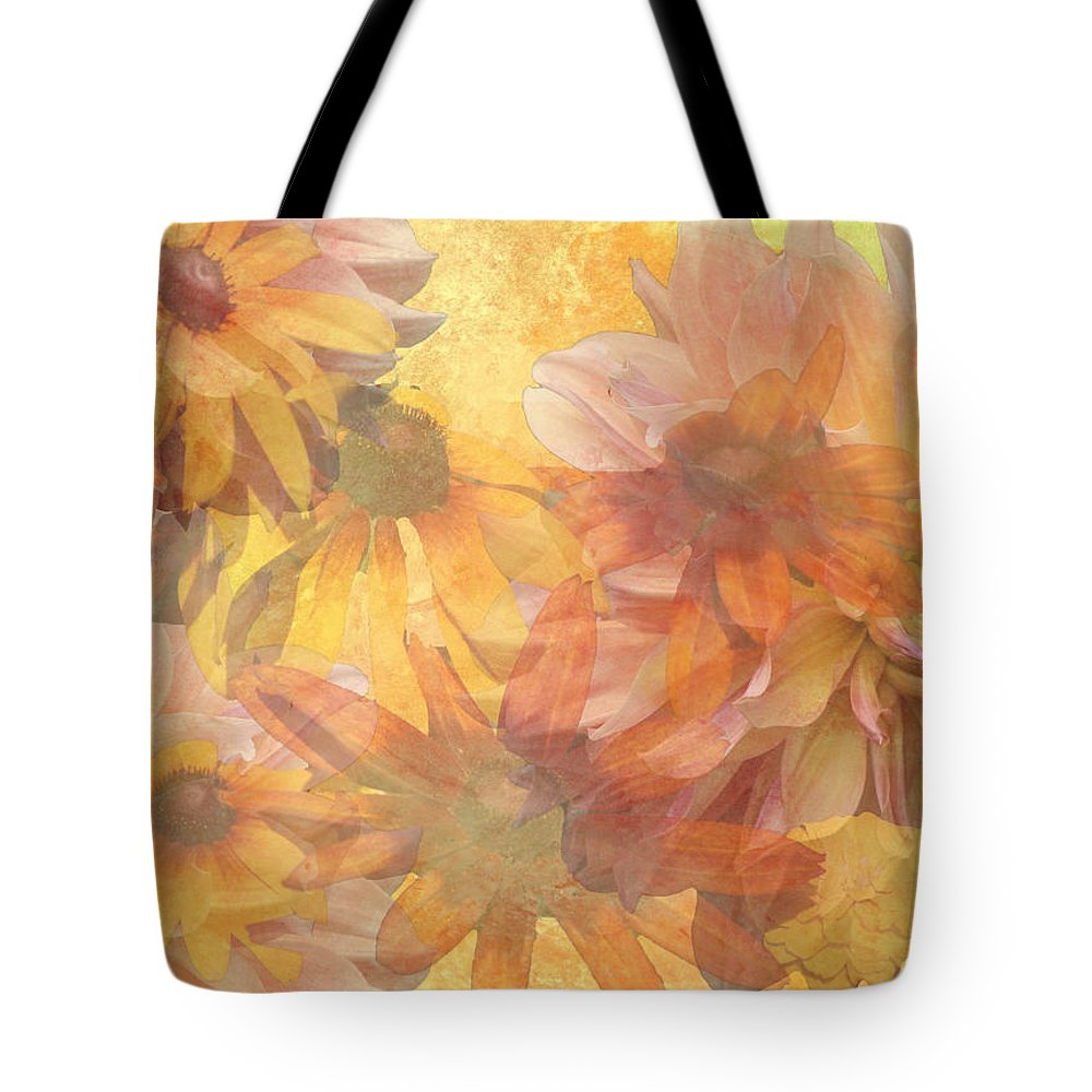 Daisies Tote Bag featuring the digital art Burst Of Spring by Donna Walsh