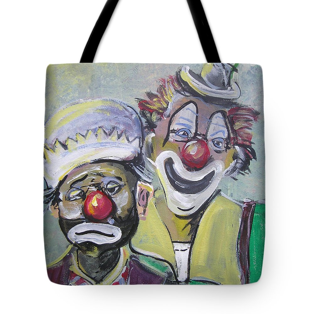 Clown. Circus Tote Bag featuring the painting Business Partners by Gerald Rader