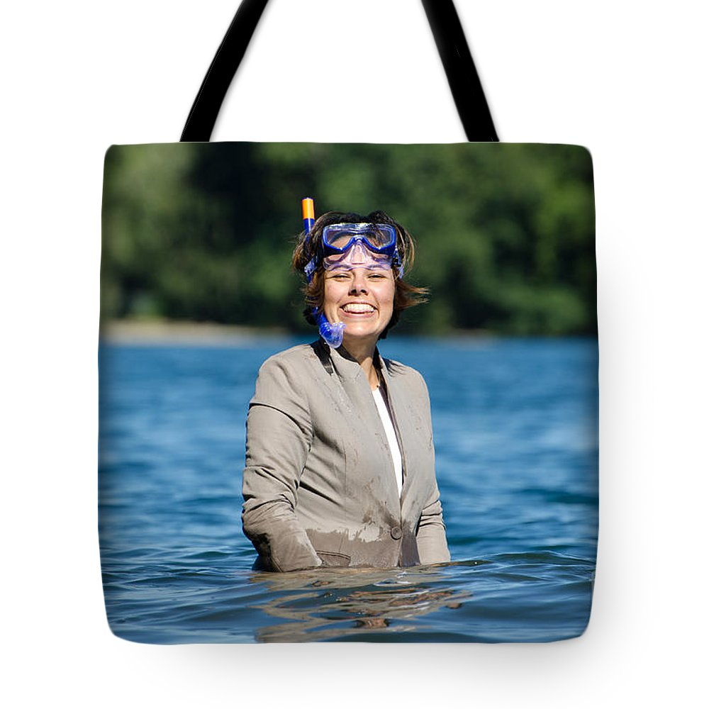Woman Tote Bag featuring the photograph Business Woman by Mats Silvan