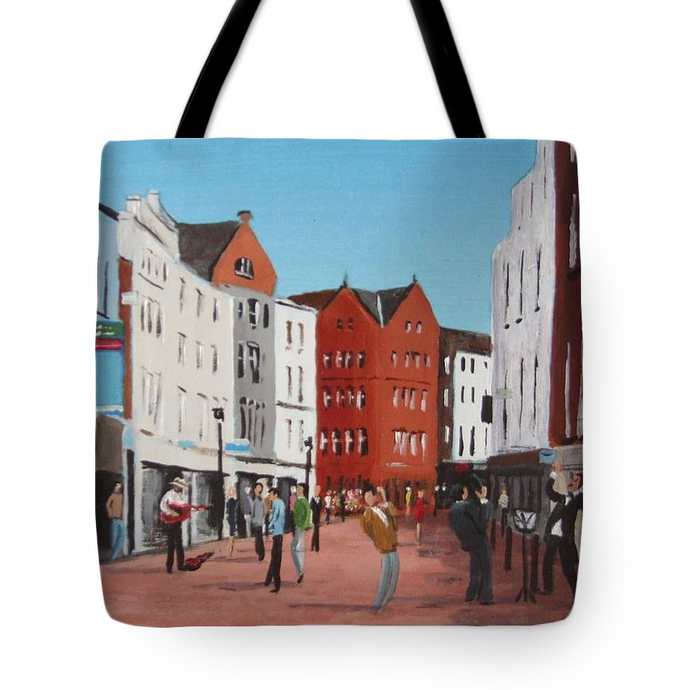 Streetscape Tote Bag featuring the painting Busking On Grafton Street by Tony Gunning