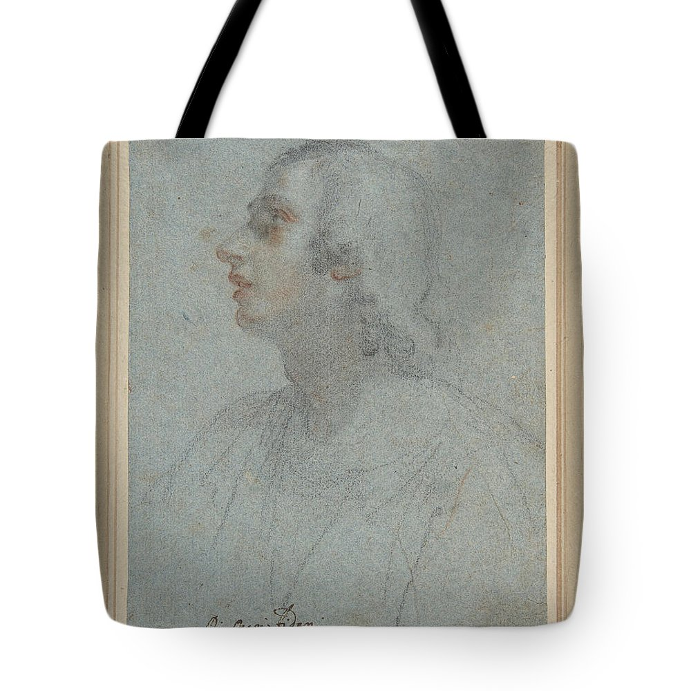 Orazio Fidani Tote Bag featuring the drawing Bust Of A Youth Looking To Upper Left by Orazio Fidani