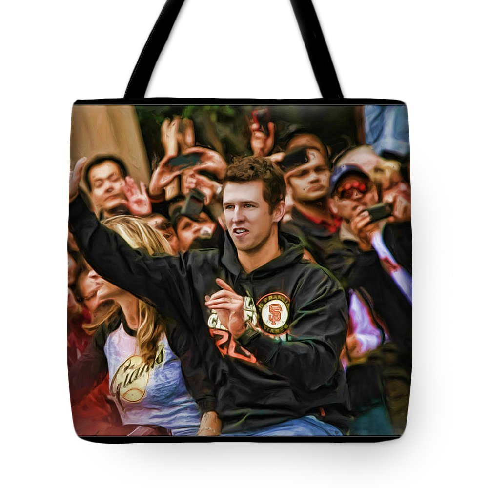 Buster Posey Tote Bag featuring the photograph Buster Posey World Series 2012 by Blake Richards