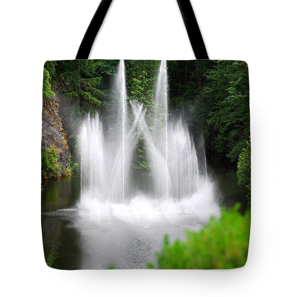 Butchart Gardens Waterfalls Tote Bag featuring the photograph Butchart Gardens Waterfalls by Lisa Phillips